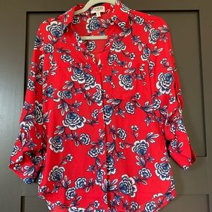 Express red and blue floral blouse